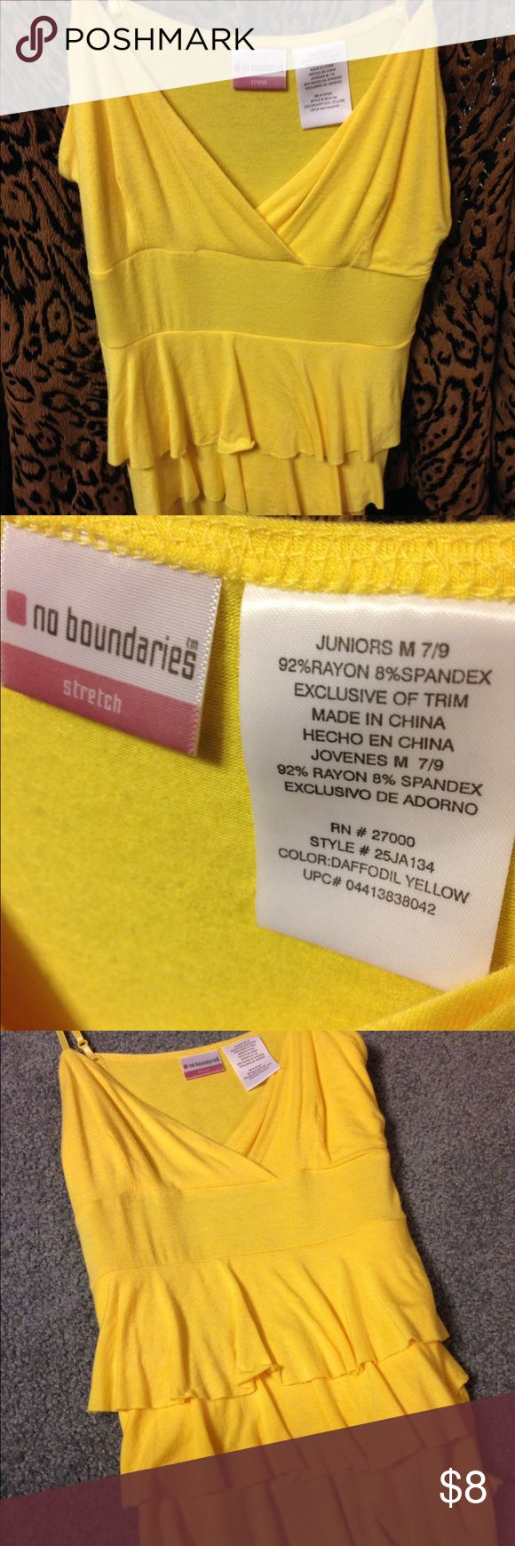 Cami top Yellow w layered ruffles. Says size  7/9 but I'd suggest smaller like 6-8 no Boundaries Tops Camisoles