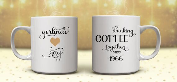 TWO MUGS  50th Anniversary Gifts Golden by ShoeBoxSnapShots