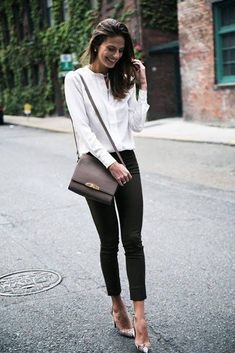 Classic button-down and slacks, chocolate bag, neat heels