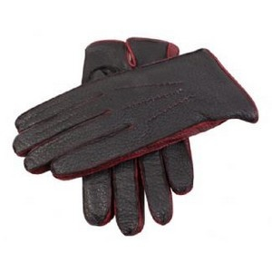 Dents Gloves - Black and Kirsch Two Tone Wool Lined Peccary Gloves by Dents