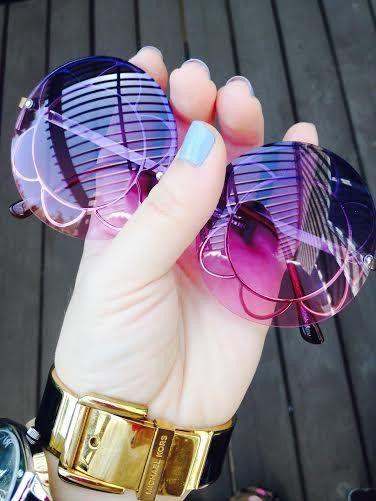 Round Oversized Sunglasses Janis Joplin Festival  Colorful Lense hand