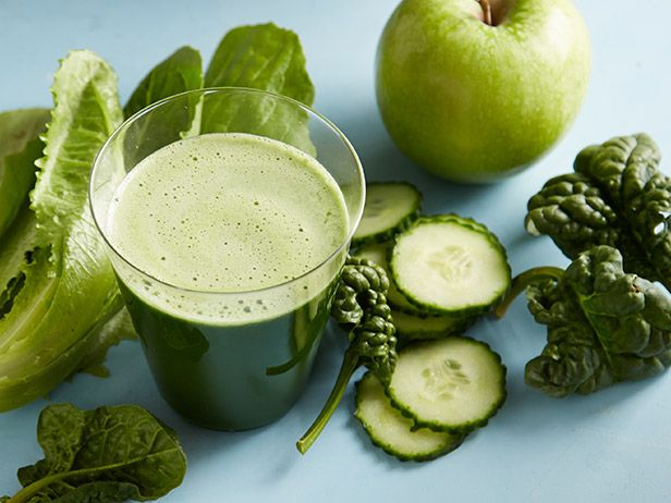 Super Green Juice: This pretty emerald juice is a great way to use up greens you may have sitting in the fridge. It's also a good source of both vitamins C and K. Be sure to drink your juice as soon as possible after it's made for the most nutritious bang. Adding chia seeds helps replace the fiber that is lost in the juicing process.
