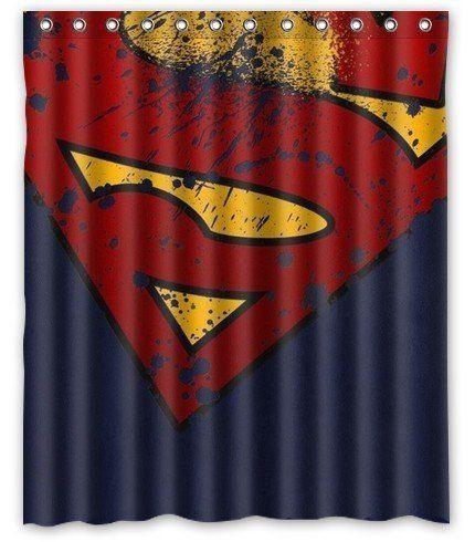 Prano marvel comic hero superman logo badges brown unique design shower curtain 60 w x 72 h - Marvel superhero bathroom accessories ...