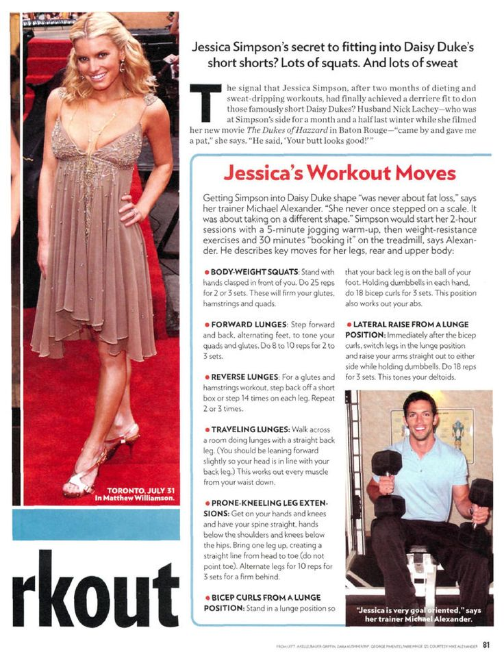 LOVE this work out!  how jessica simpson got into her daisy dukes