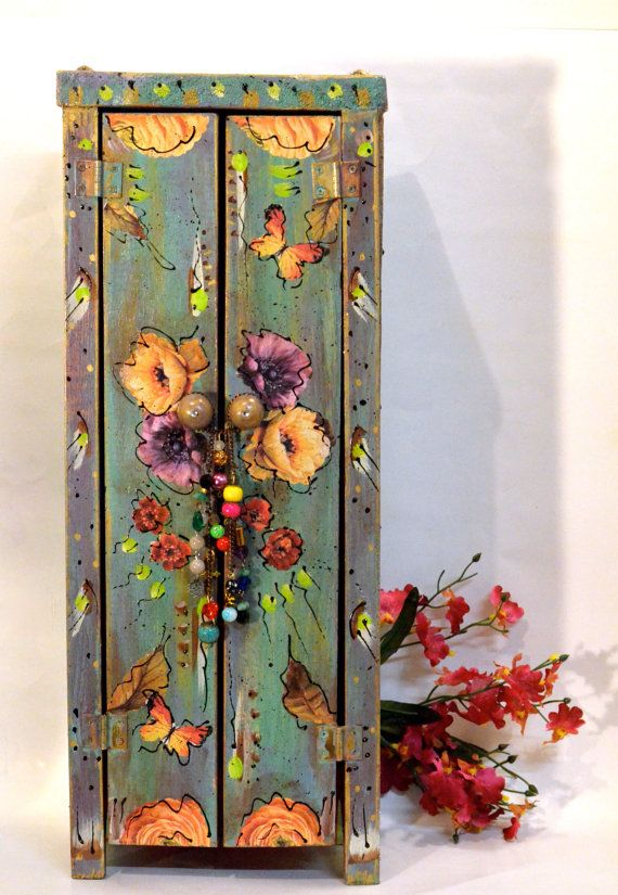 Boho Handmade Wooden Standing Cabinet Mexican Shabby Cottage Chic