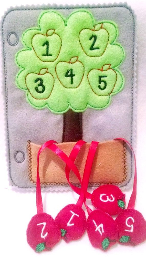Felt counting apple tree quiet book page by itsthesmallthings