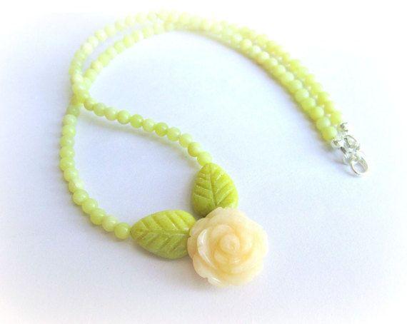 Lemon jade necklace stone flower necklace gemstone beaded