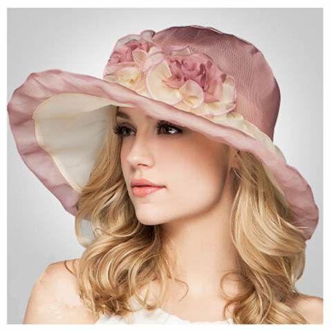 Two flowers silk sun hat for women wide brim sun hats package beach wear