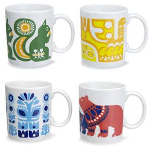 Finnish/ English animal print mugs from Marimekko (Mari's dress)