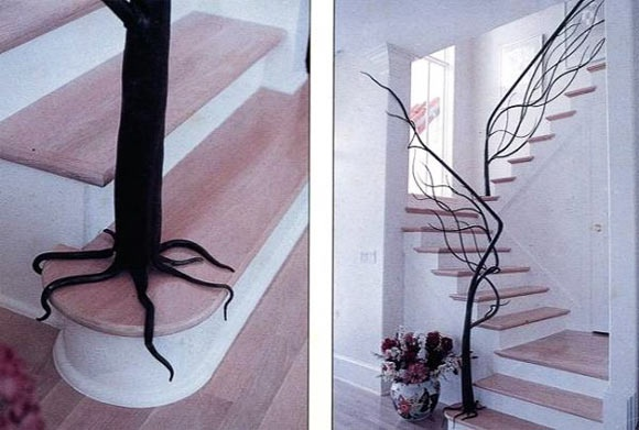 so coolStairs Railings, Staircase Design, Trees Branches, Cool Ideas, Tree Branches, Wrought Iron, Staircases Railings, Stairs Design, Stairs Cases