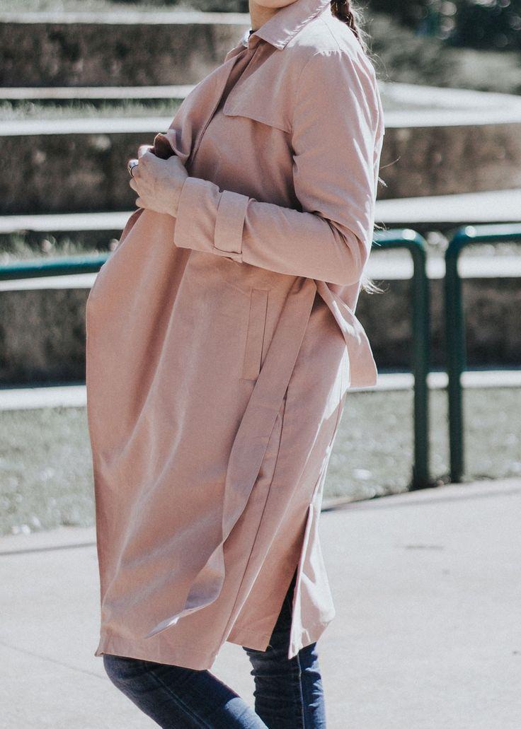 Blush pink trench coat //