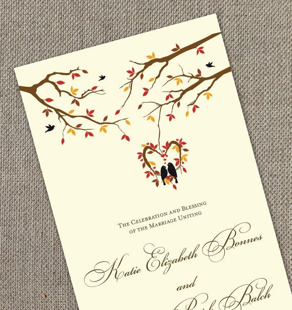 Fall Wedding Program. Modern Wedding. Autumn Ceremony. DIY. Leaves Program