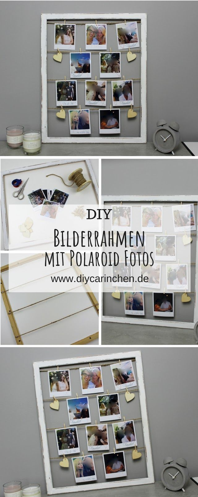 DIY: make a fancy picture frame with photos in the Polaroid style itself  the pe…