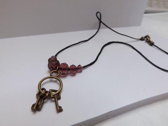 black cord key charm beaded necklace by LizzyNicholls on Etsy, £4.50