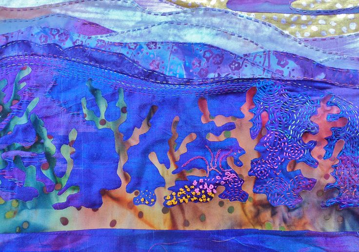 This portion of the unfinished textile shows waves and the coral underneath. Still completing the stitching in March 2015.