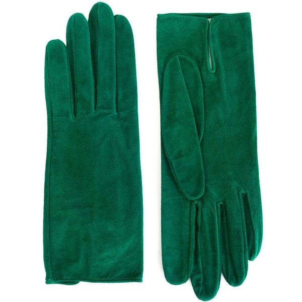 Christian Dior Vintage Classic Gloves (€320) ❤ liked on Polyvore featuring accessories, gloves, green, vintage gloves, green gloves and christian dior
