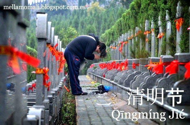 Fiestival de Qingming, 清明节, (Resplandor puro). Día en que se venera a los ancestros y se limpian las tumbas.