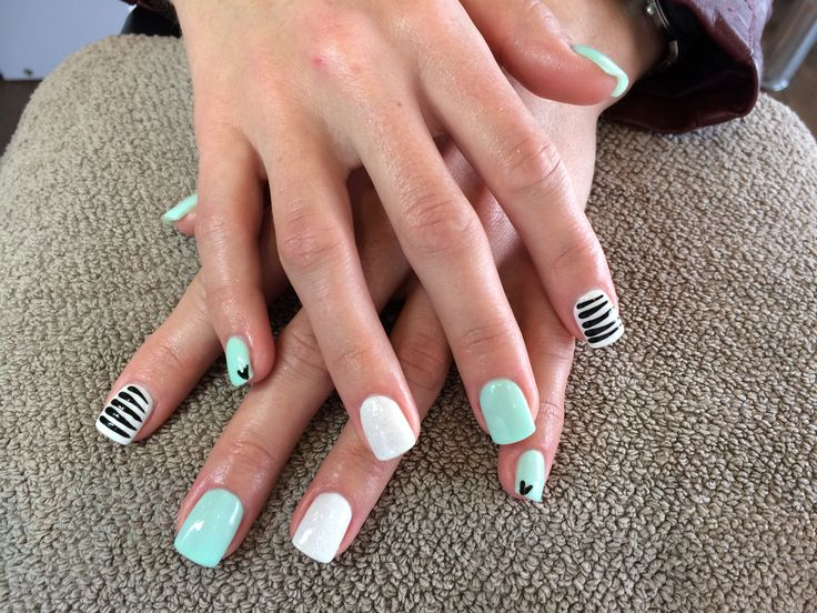 Light mint, white hologram glitter and black stripes