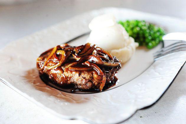 Pioneer Woman's Salisbury Steak  -- onion, ground beef, breadcrumbs, bouilion & other pantry ingredients