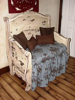 Pinner says: This bench was created from a sleigh bed i found at a flea market.  I used an old bedspread for the sewing and skirt. I hand distressed it and glazed it too! LOVE!