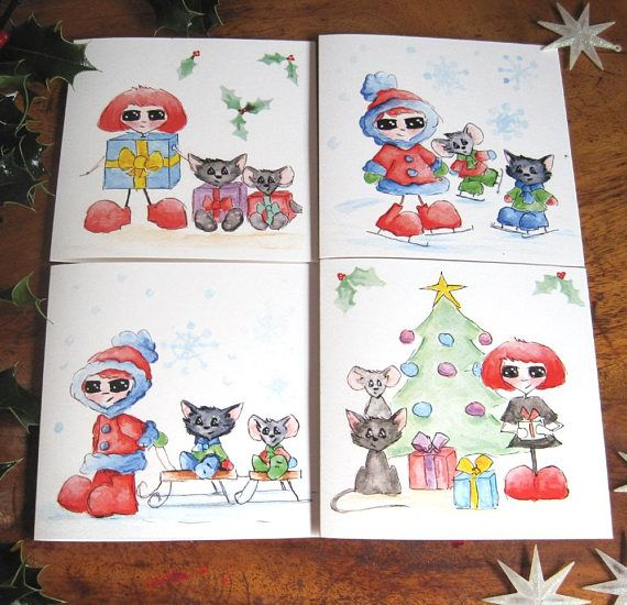 Lovely Christmas Cards set of 4 Season Geetings Cards