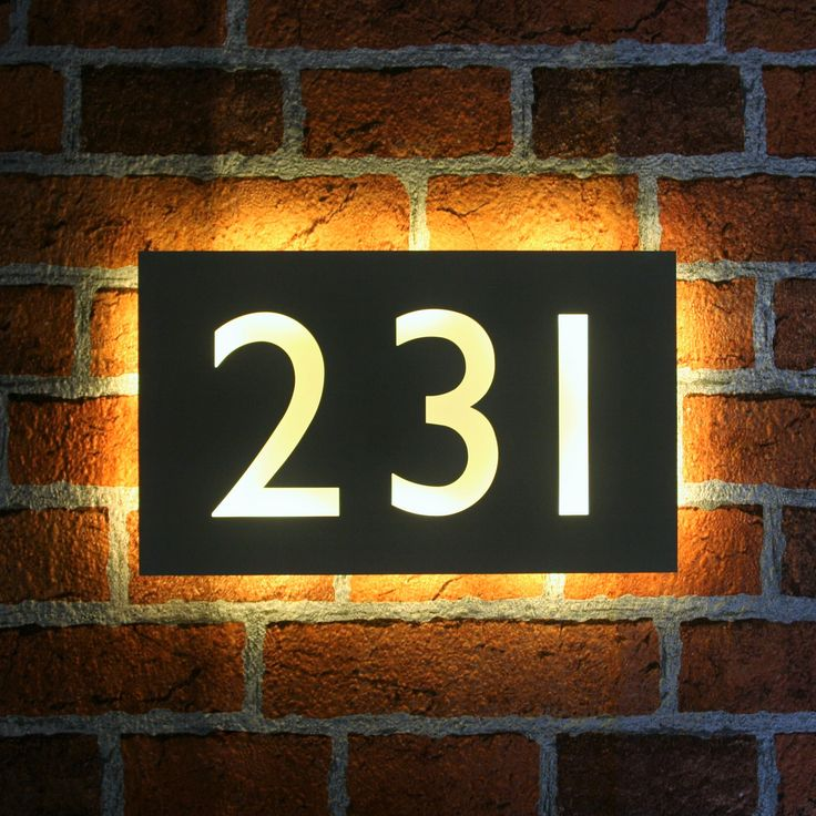 Made To Order Stainless Steel House Number Plaques In Gill Sans Font With Back  Lit LEDs