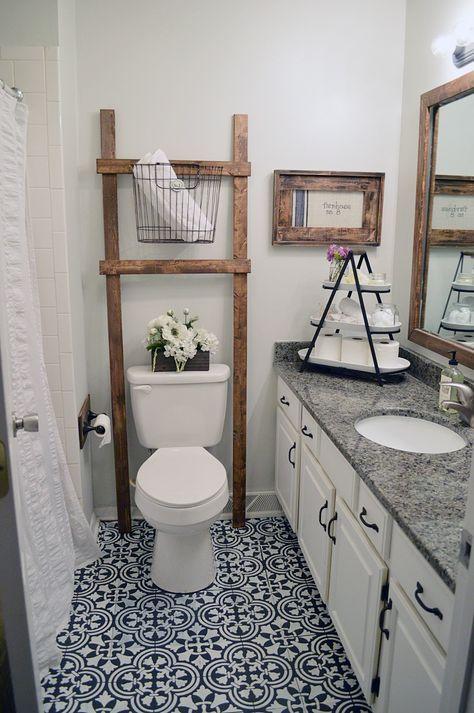 Learn how to stencil a tile pattern on a bathroom linoleum floor using the Augusta Tle Stencil. http://www.cuttingedgestencils.com/augusta-tile-stencil-design-patchwork-tiles-stencils.html