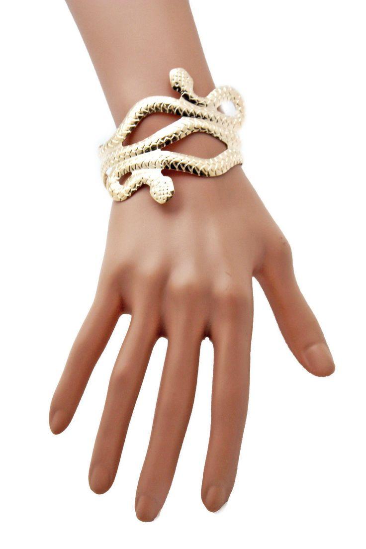 Gold / Silver Metal Cuff Bracelet Cobra Snake Trendy Wrap Around New Women Fashion Jewelry Accessories