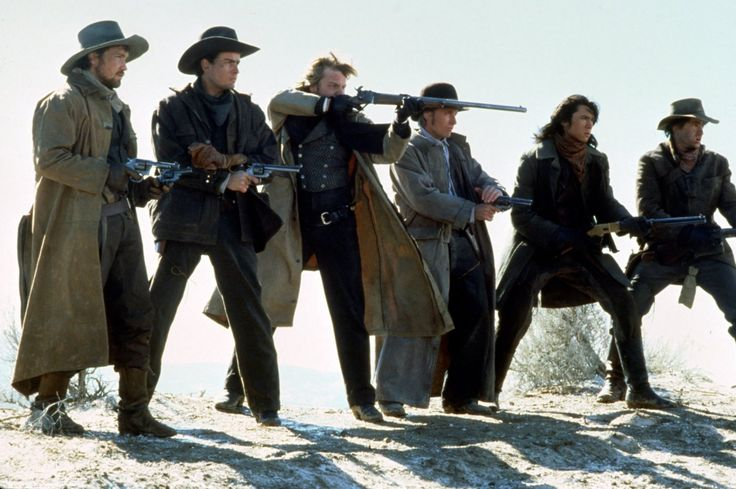 Charlie Sheen, Emilio Estevez, Dermot Mulroney, Kiefer Sutherland, Lou Diamond Phillips, and Casey Siemaszko in   Young Guns (1988)