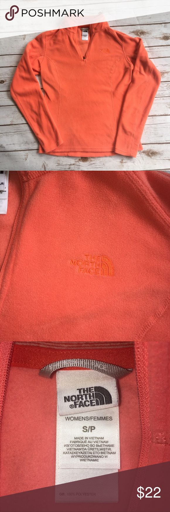 The North Face fleece 1/4 zip pullover The North Face fleece 1/4 zip pullover. SMALL. Orange/coral color, excellent used condition. Smoke free home. The North Face Jackets & Coats