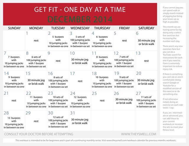 monthly workout calendar