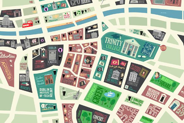Dublin City Map on Behance by Peter Donnelly -thanks @Becky Hui Chan Walker !