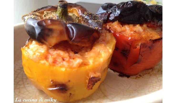Peperoni ripieni di riso ed oziare la al forno senza glutine BlogGz la cucina di miky