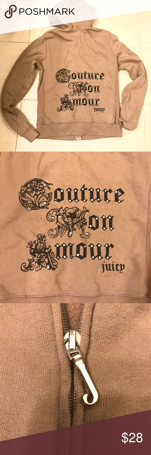 Juicy Couture Rhinestone Hoodie Juicy Couture Rhinestone Embellished hoodie zip up jacket. Super comfy! Light brown color. Runs small and I needed to size up. Ask questions! 😊 Worn a handful of times, great condition! Juicy Couture Tops Sweatshirts & Hoodies