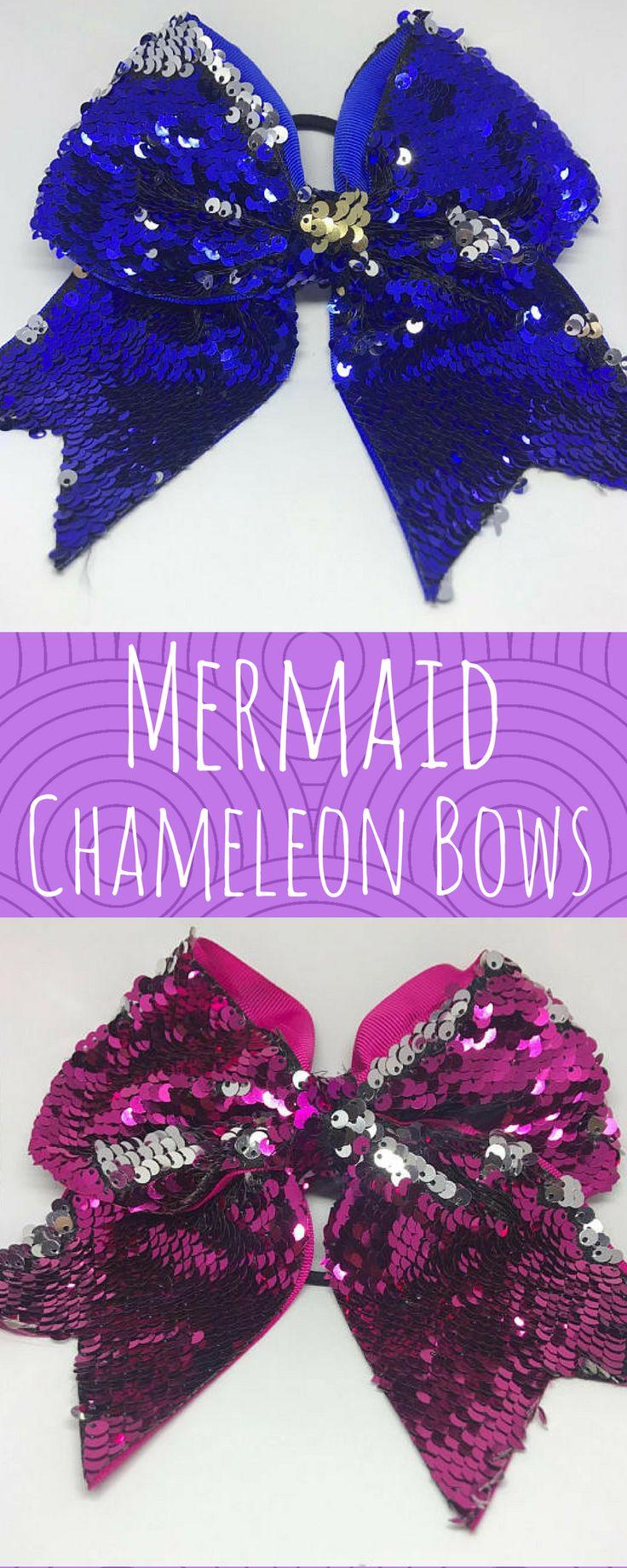 $8. Mermaid Chameleon Two Tone Sequin Cheer Bows Reversible Sequin Cheer Bows Two Tone 2 Tone Team Bows Holiday Bows. Cheerleading accessories, fun cheerleader gift! #cheerleading #ad