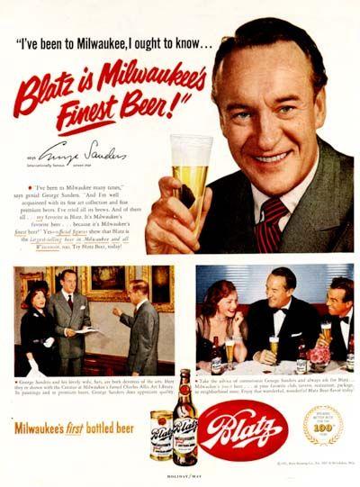 1951 Blatz Beer original vintage advertisement. With endorsement by international screen star, George Sanders.