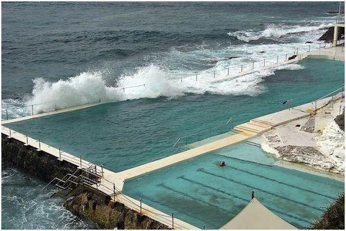 bondi icebergs baths: olympic-size ocean pools in bondi beach, sydney, australia.
