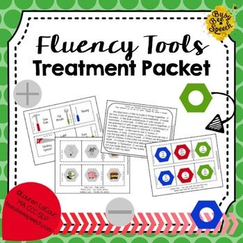 "This packet uses a ""tool"" theme to help students achieve fluency.  They think of their strategies as speech tools to help facilitate smooth speech.  This packet addresses many aspects of fluency including fluency enhancing behaviors, stuttering modification, types of disfluency, relaxation, pacing, speech machine, and feelings worksheets.Packet includes: Speech toolbox mats Fluency enhancing behavior cards with matching definitions (12) Stuttering modification cards with definitions (6)…"