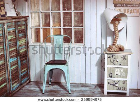 stylish interior corner with sea and beach shabby design ideas