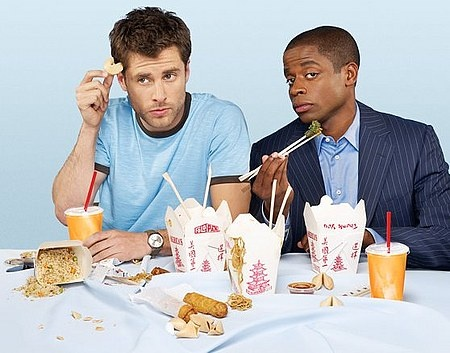 Psych!James Roday, Cookies, Best Friends, Psych, Dule Hills, So Funny, Chinese Food, Parties Food, Shawn And Gus