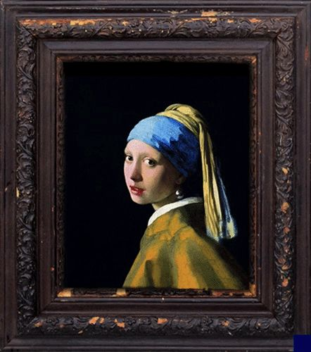 fun gifs the girl with the pearl earring taking a selfie