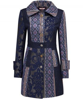 Unusual and so elegant, this beautiful jacquard panelled coat is all about…
