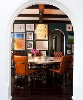 The Best Home Decor Blogs To Bookmark Now—Part II!: Wall Colors, Dining Rooms, Nate Berkus, Arches, Interiors Design, Galleries Wall, Round Tables, Leather Chairs, Dark Wall