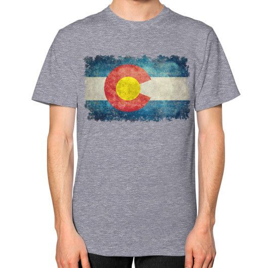 Flag of Colorado in vintage retro style Unisex T-Shirt (on man)