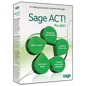 Sage ACT! Pro 2011 - Includes 1 hour ACT! 101 training webinar held weekly by Sage ACT! Pro. $97.95. Work seamlessly with the tools you rely on every day. Know every detail about your contacts and customers. Make the most of your work day. Turn new opportunities into paying customers. Generate buzz for your products and services. Make contact. Build relationships. Get results.  Sage ACT! makes it easy for you to manage anything and everything related to your contacts and calenda...