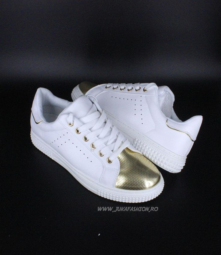 "Poze Pantof Dama Casual ""Chic"" White-Gold by JukaFashion.ro cod B5550-7"