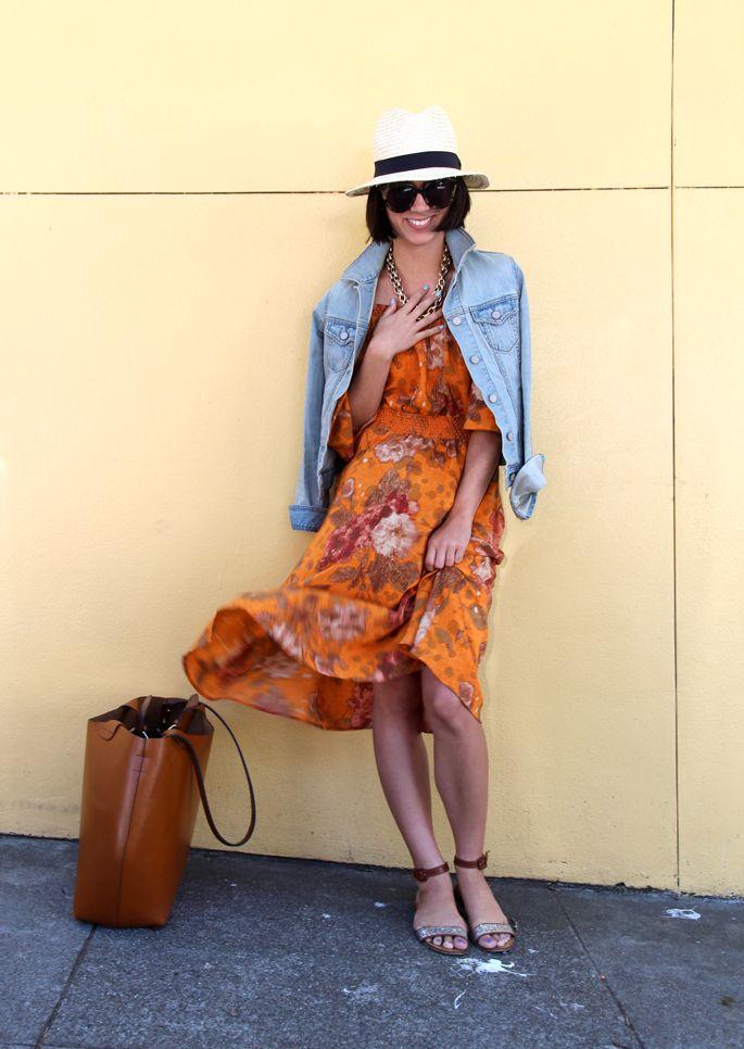 Repin Via: Krystal Bick of This Time Tomorrow: A Mini-Saia Jeans, Summer Dresses, Summer Looks, Jeans Jackets, Denim Jackets, The Dresses, Dresses Hats, Floral Fashion, Floral Dresses