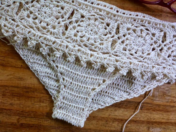 Using the square motif and trim patterns below as theme, make a bralette and underwear set.             For this exercise, I used 4-ply ...