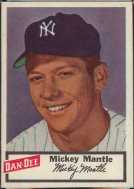 1954 Dan Dee Mickey Mantle baeball card.