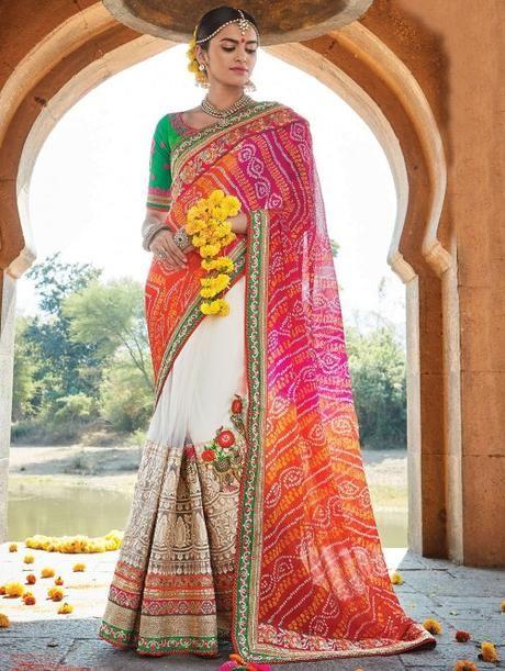 Pink and White Net Saree with Zari Work - Saree - New Arrival